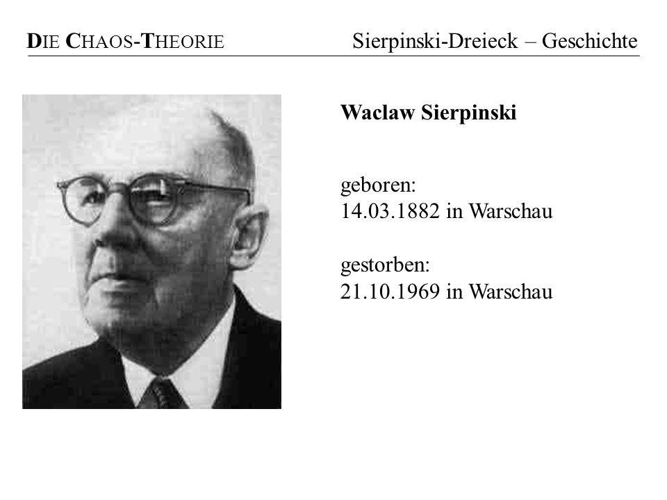 DIE CHAOS-THEORIE Sierpinski-Dreieck – Geschichte. Waclaw Sierpinski. geboren: 14.03.1882 in Warschau.