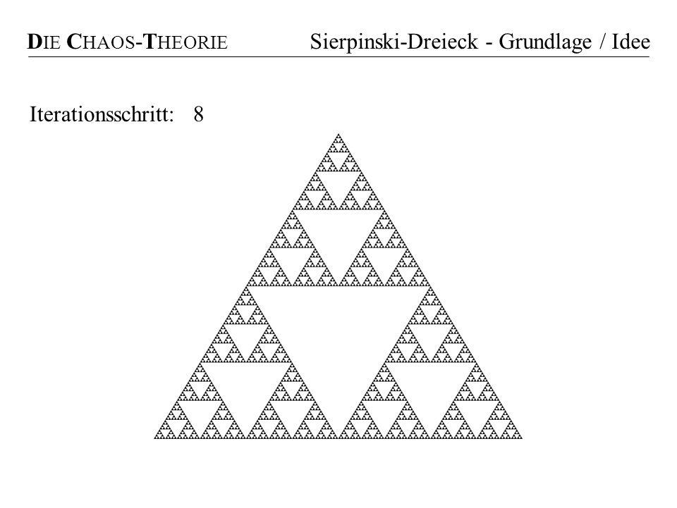DIE CHAOS-THEORIE Sierpinski-Dreieck - Grundlage / Idee Iterationsschritt: 8 3 1 2
