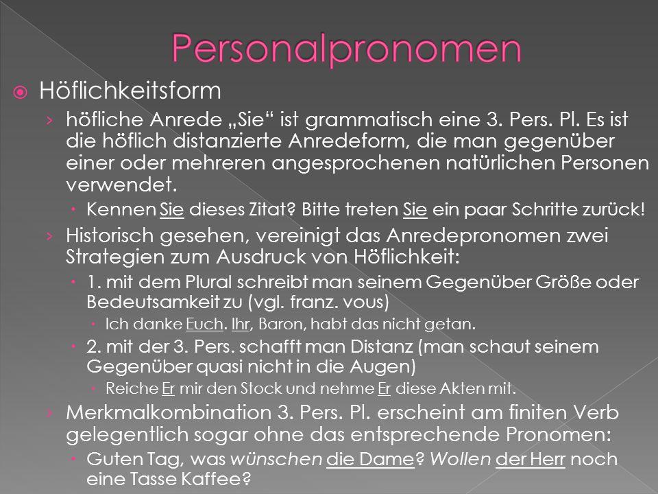 Personalpronomen Höflichkeitsform