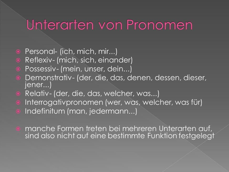 Unterarten von Pronomen