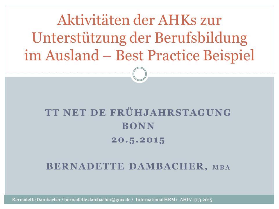 TT Net De Frühjahrstagung Bonn 20.5.2015 Bernadette Dambacher, MBA
