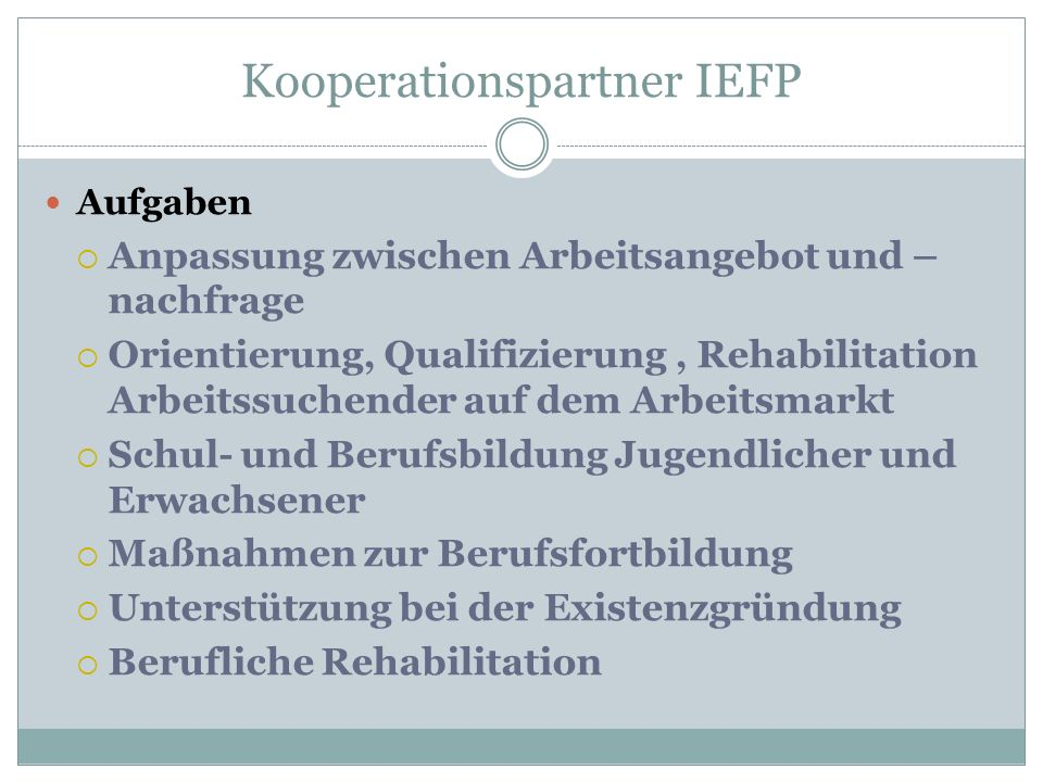 Kooperationspartner IEFP