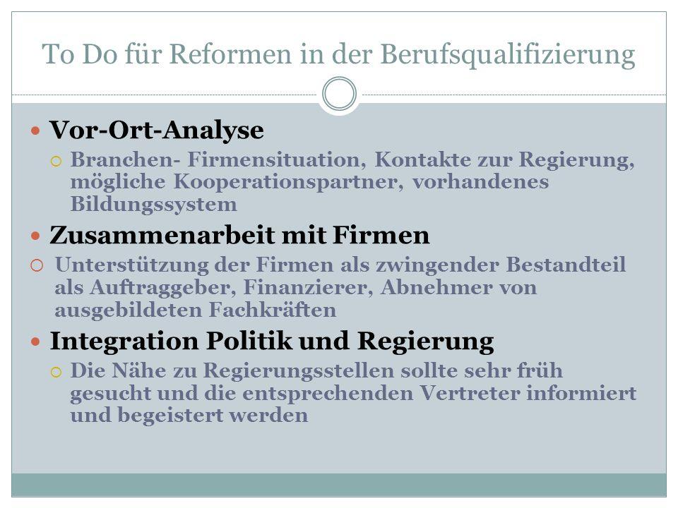To Do für Reformen in der Berufsqualifizierung