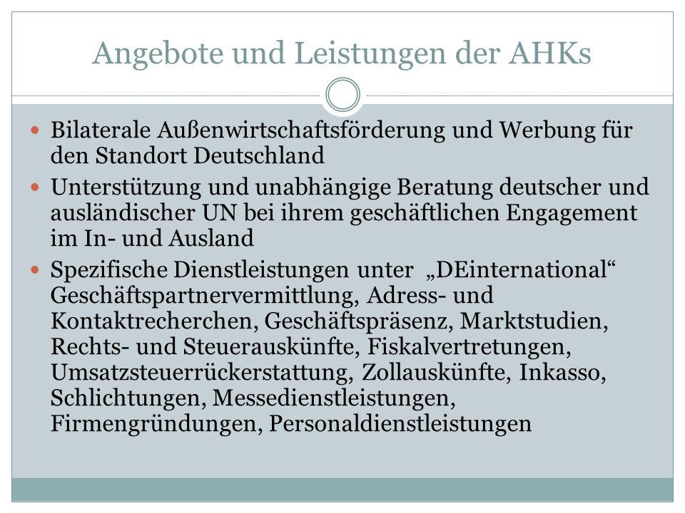 Angebote und Leistungen der AHKs