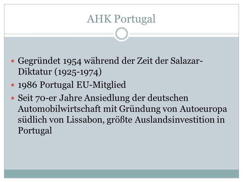 AHK Portugal Gegründet 1954 während der Zeit der Salazar-Diktatur (1925-1974) 1986 Portugal EU-Mitglied.
