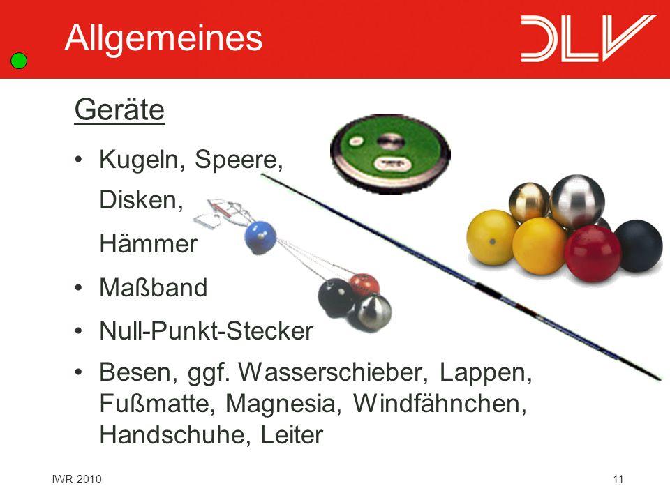 Allgemeines Geräte Kugeln, Speere, Disken, Hämmer Maßband