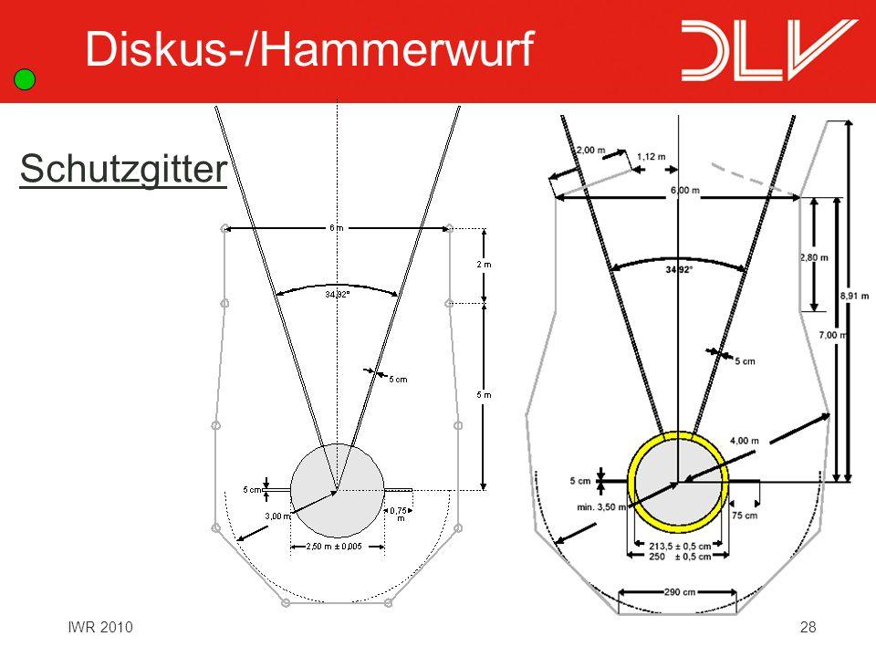 Diskus-/Hammerwurf Schutzgitter Regel 190 + 192 Schutzgitter: