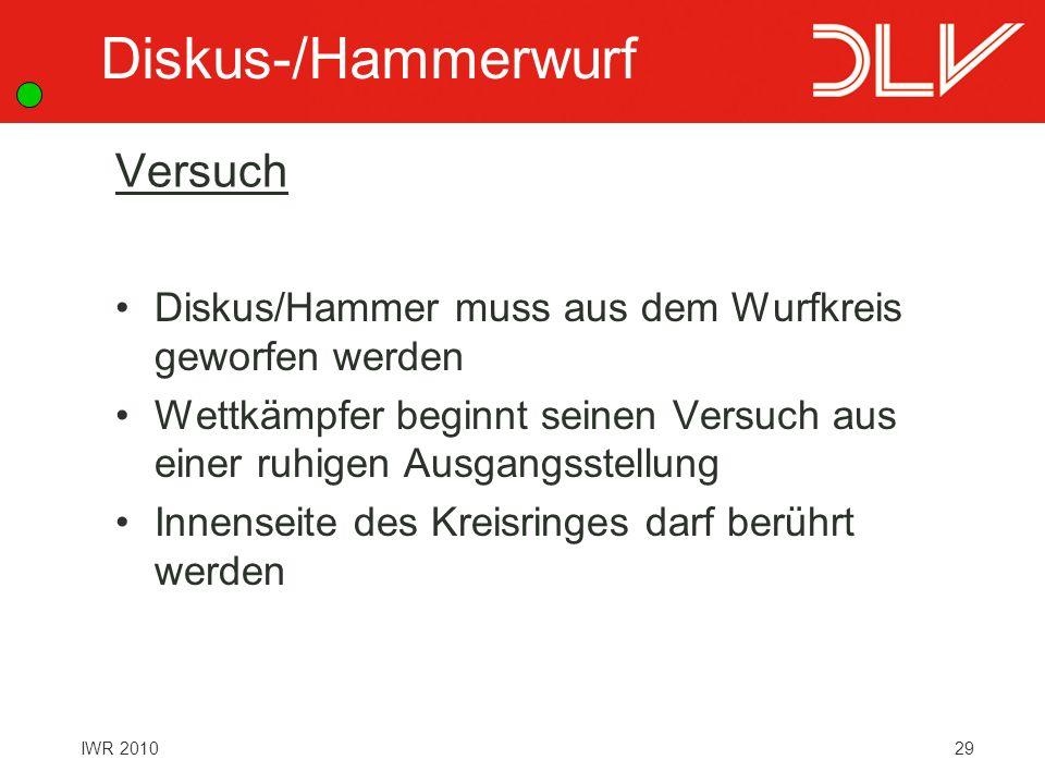 Diskus-/Hammerwurf Versuch