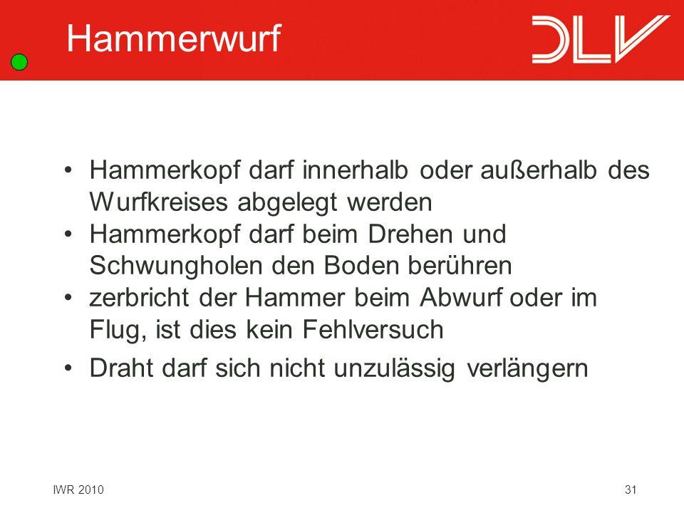 Hammerwurf Hammerkopf darf innerhalb oder außerhalb des Wurfkreises abgelegt werden. Hammerkopf darf beim Drehen und Schwungholen den Boden berühren.