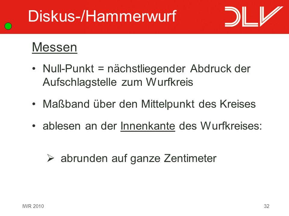 Diskus-/Hammerwurf Messen