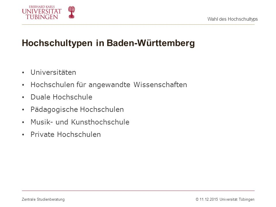 Hochschultypen in Baden-Württemberg
