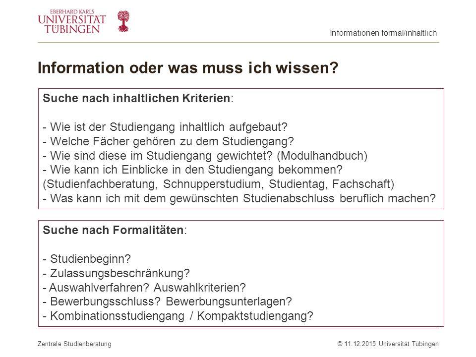 Information oder was muss ich wissen