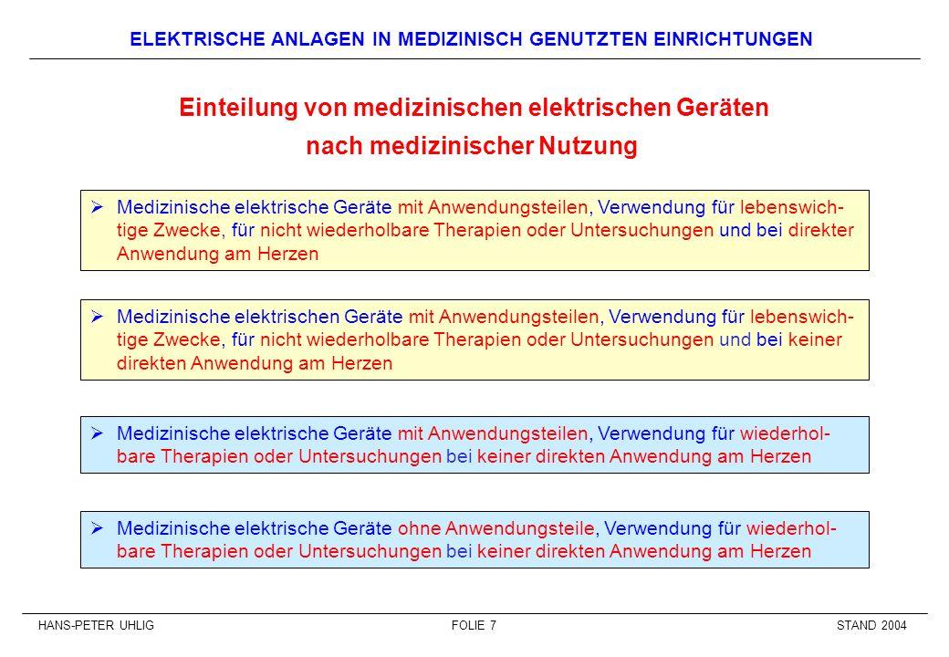 Einteilung von medizinischen elektrischen Geräten
