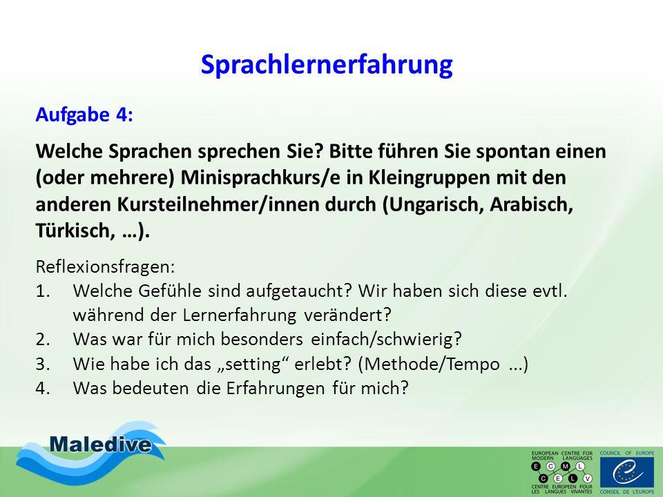 Sprachlernerfahrung Aufgabe 4: