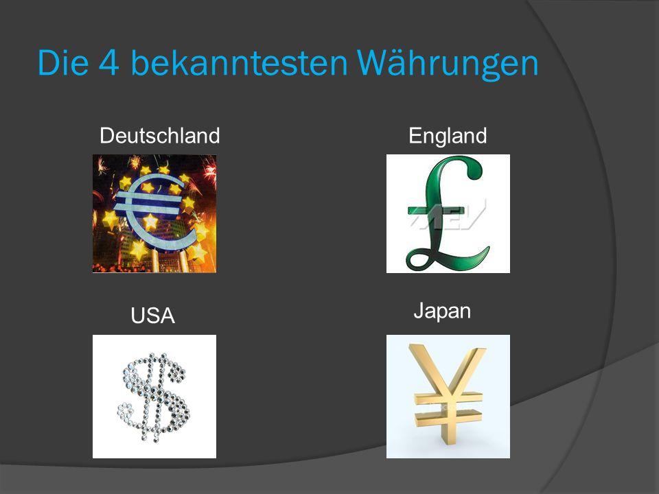 Die 4 bekanntesten Währungen