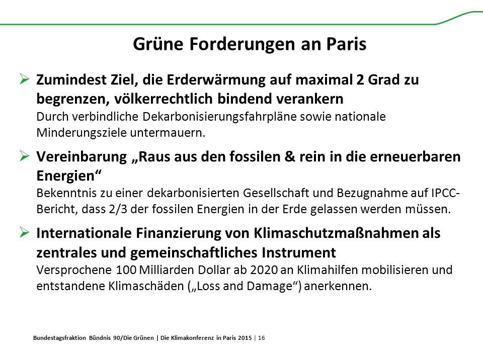 Grüne Forderungen an Paris