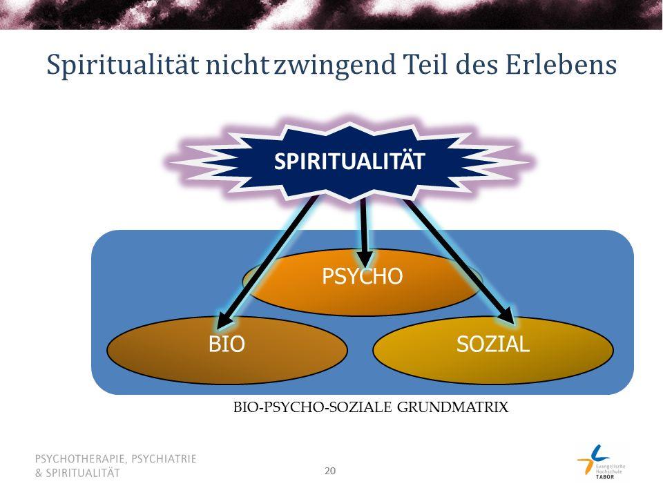 Spiritualität nicht zwingend Teil des Erlebens