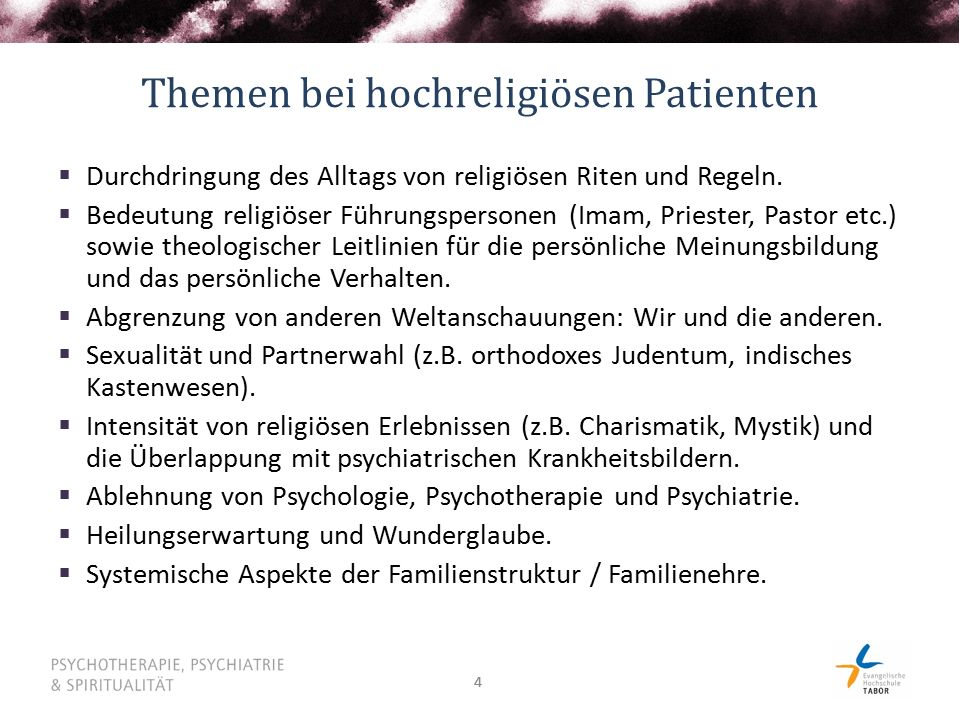 Themen bei hochreligiösen Patienten