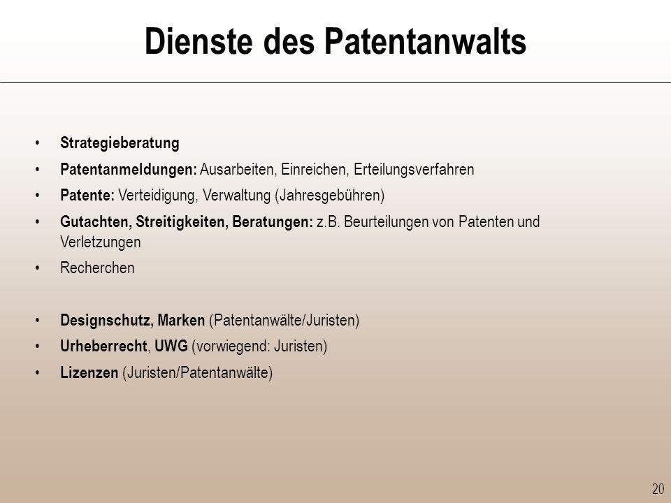 Dienste des Patentanwalts