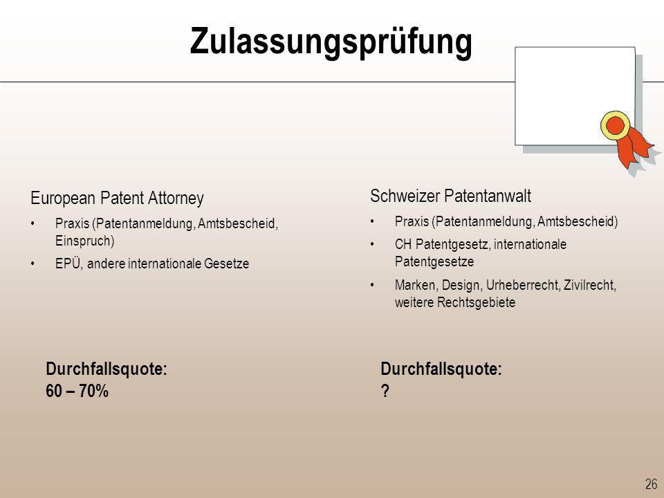 Zulassungsprüfung European Patent Attorney Schweizer Patentanwalt