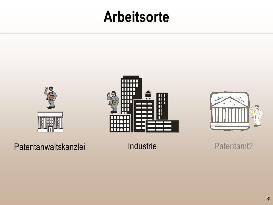Arbeitsorte Patentanwaltskanzlei Industrie Patentamt
