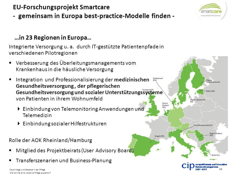 EU-Forschungsprojekt Smartcare - gemeinsam in Europa best-practice-Modelle finden -