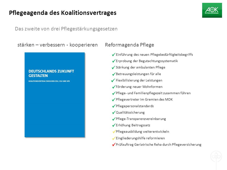 Pflegeagenda des Koalitionsvertrages