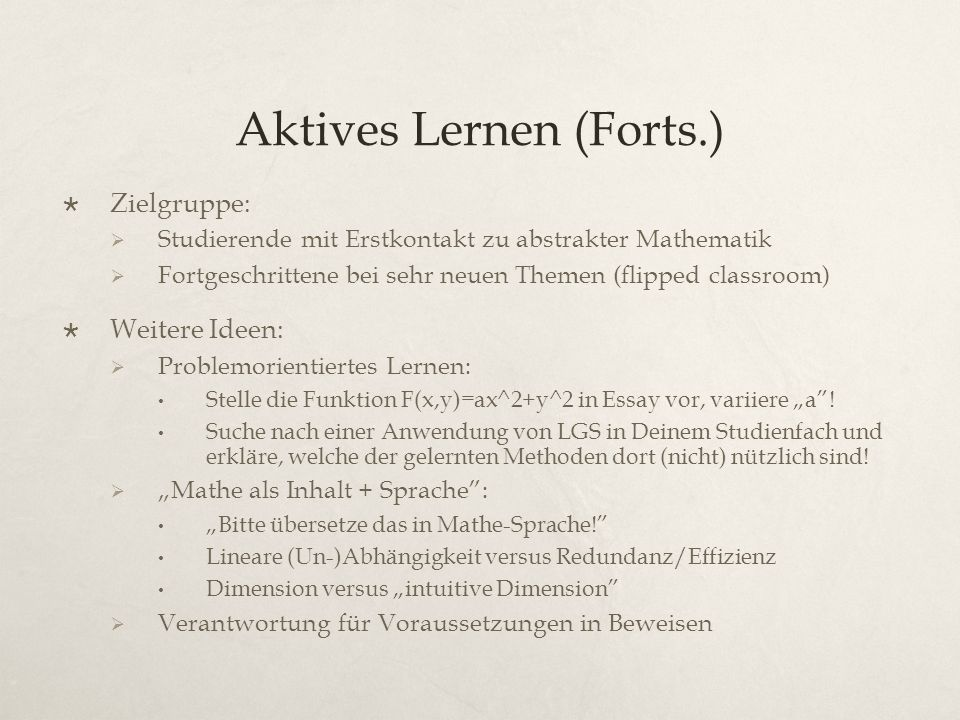 Aktives Lernen (Forts.)