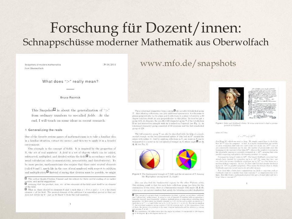 Forschung für Dozent/innen: Schnappschüsse moderner Mathematik aus Oberwolfach