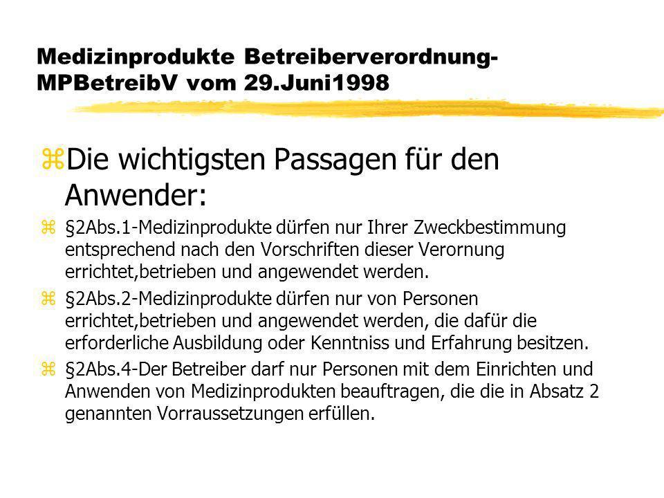 Medizinprodukte Betreiberverordnung-MPBetreibV vom 29.Juni1998