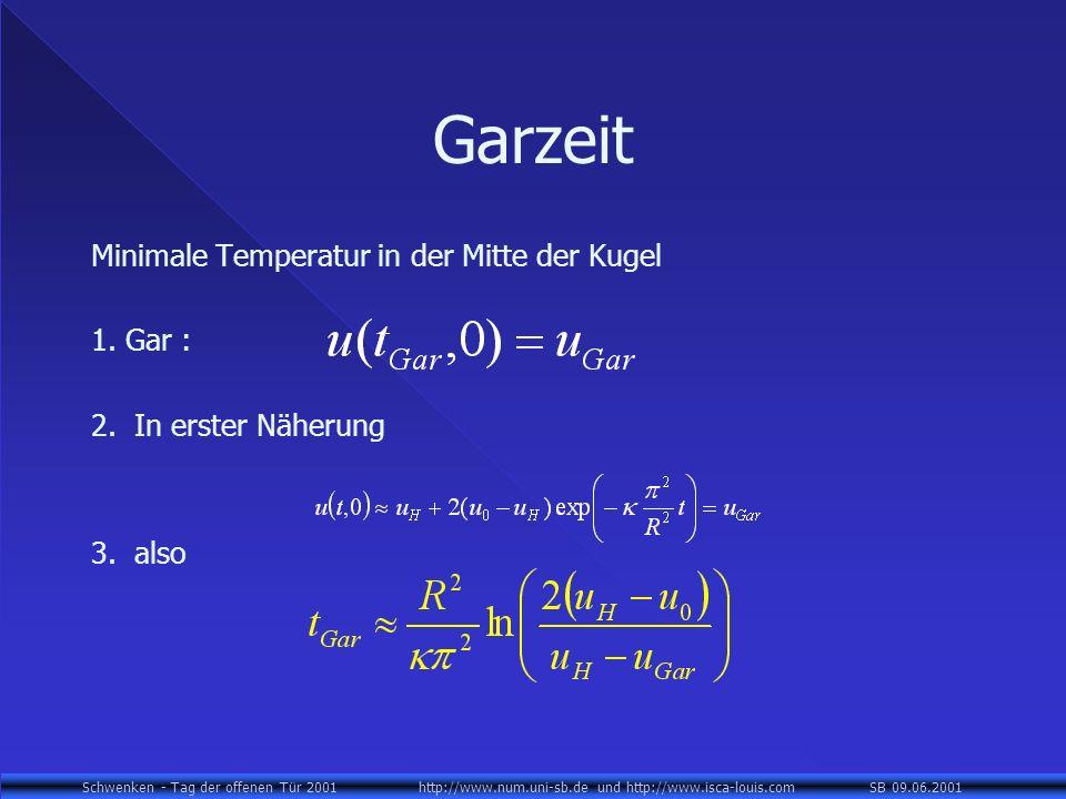 Garzeit Minimale Temperatur in der Mitte der Kugel 1. Gar :