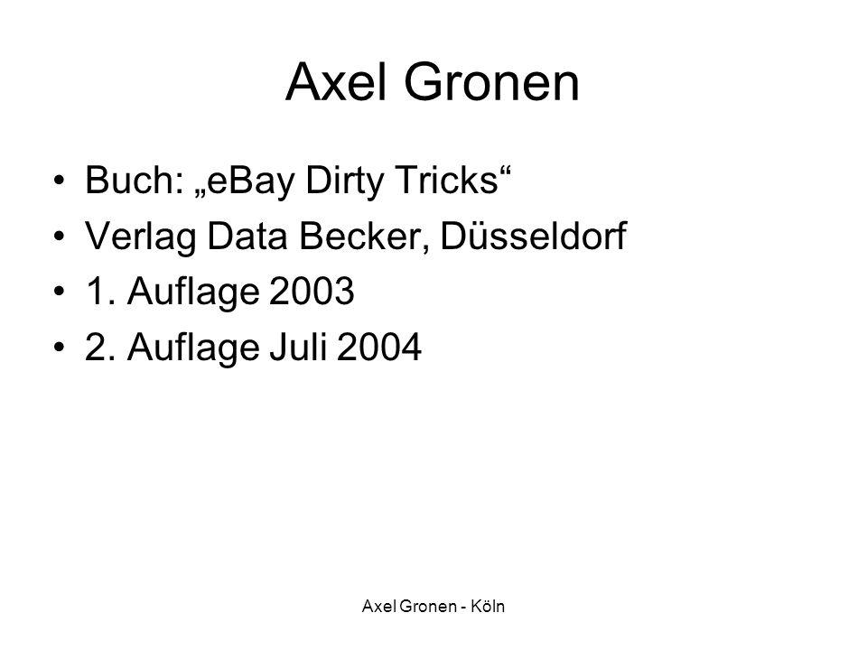 "Axel Gronen Buch: ""eBay Dirty Tricks Verlag Data Becker, Düsseldorf"