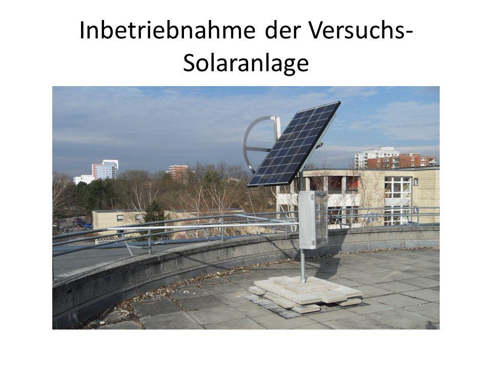 Inbetriebnahme der Versuchs-Solaranlage