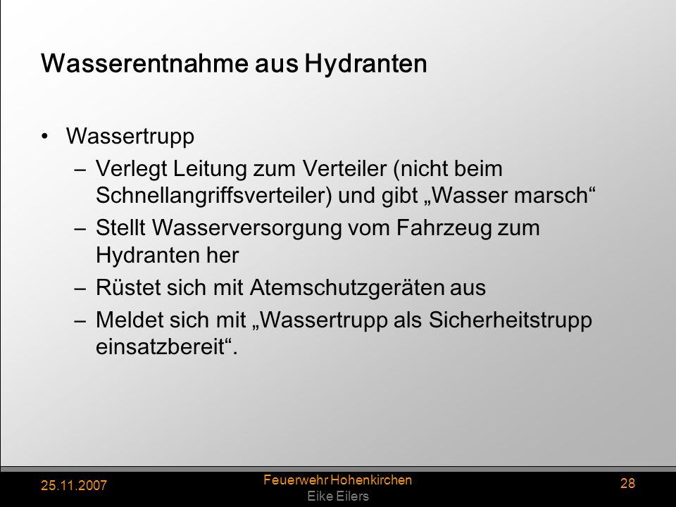 Wasserentnahme aus Hydranten
