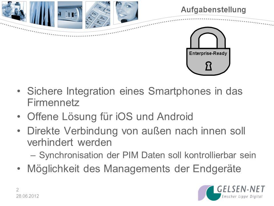 Sichere Integration eines Smartphones in das Firmennetz
