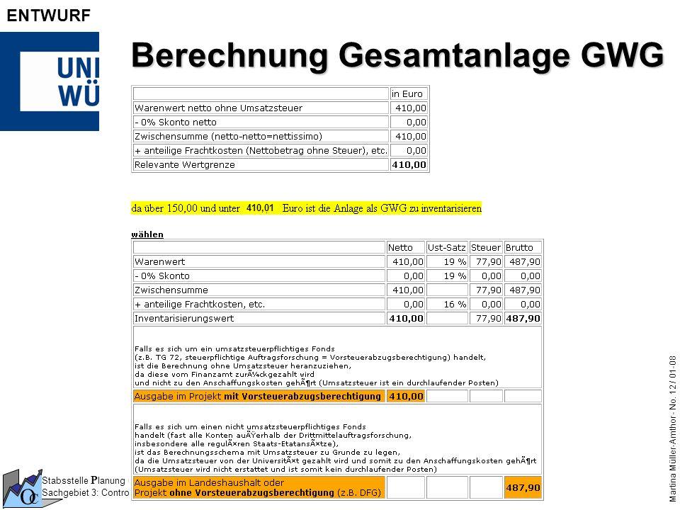 Berechnung Gesamtanlage GWG