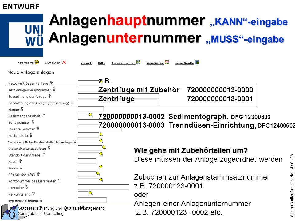 """Anlagenhauptnummer """"KANN -eingabe Anlagenunternummer """"MUSS -eingabe"""