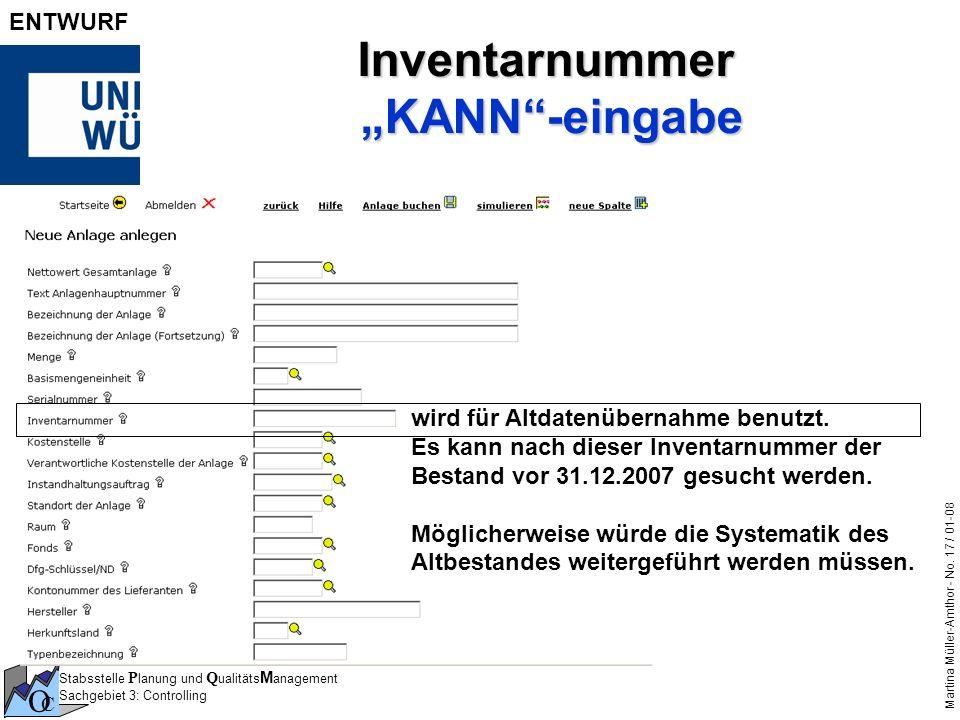"""Inventarnummer """"KANN -eingabe"""
