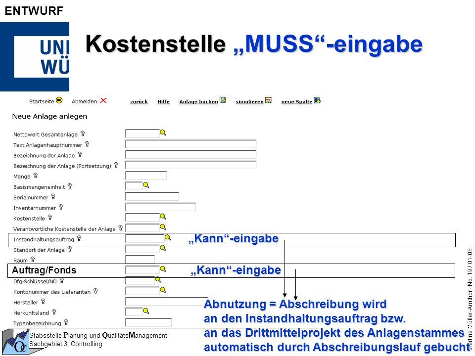 """Kostenstelle """"MUSS -eingabe"""