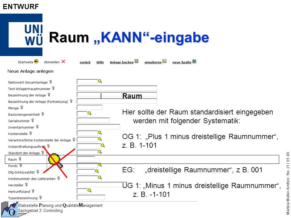 "Raum ""KANN -eingabe I Raum"