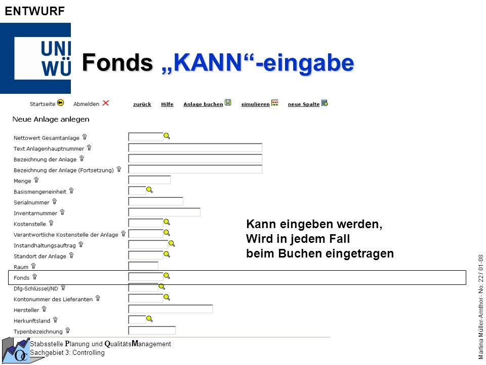 """Fonds """"KANN -eingabe Kann eingeben werden,"""