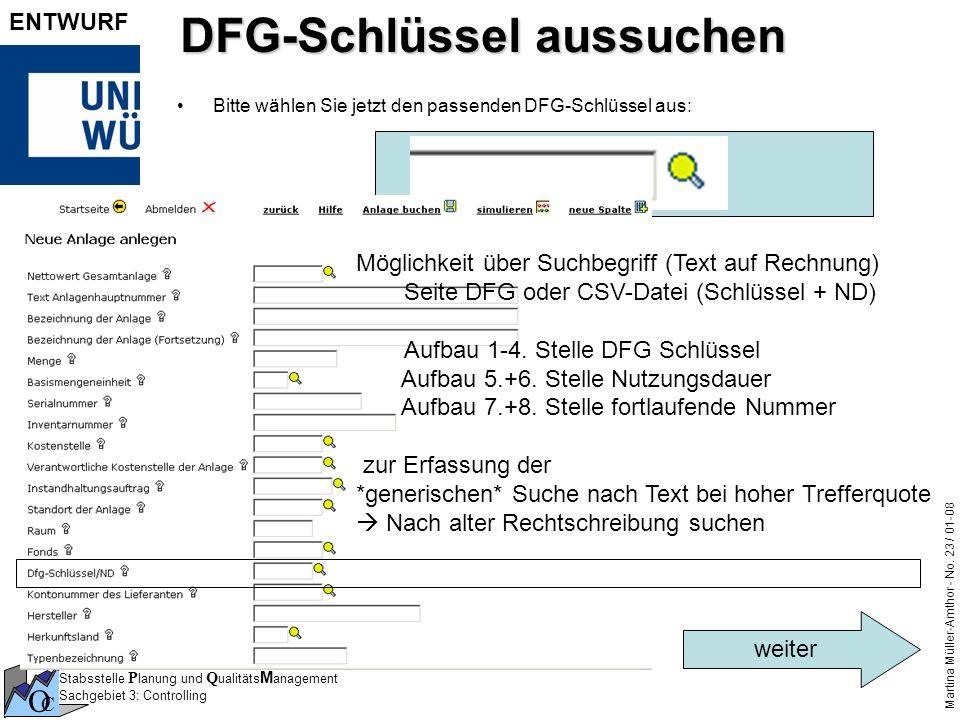 DFG-Schlüssel aussuchen
