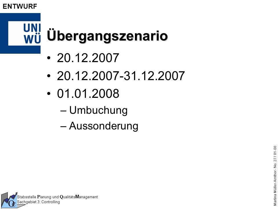 Übergangszenario 20.12.2007 20.12.2007-31.12.2007 01.01.2008 Umbuchung