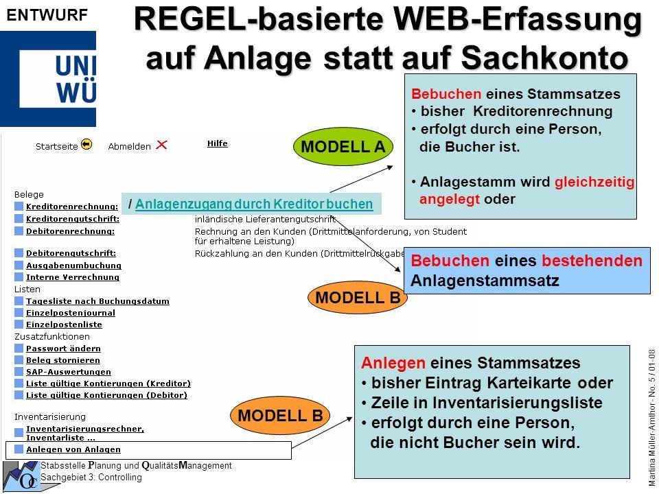 REGEL-basierte WEB-Erfassung auf Anlage statt auf Sachkonto
