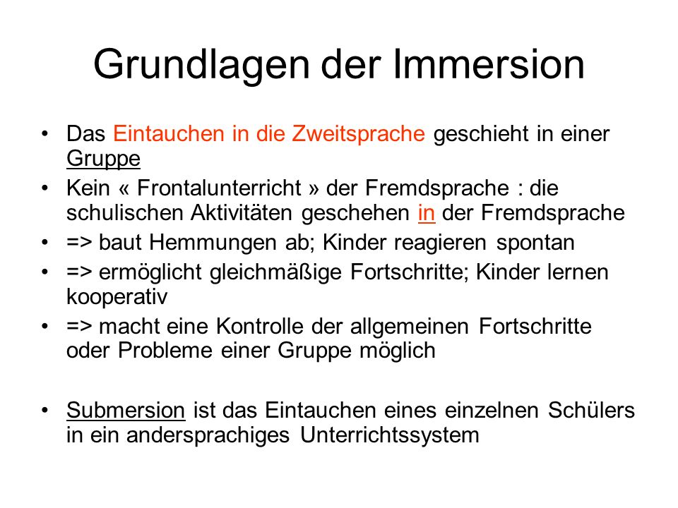 Grundlagen der Immersion