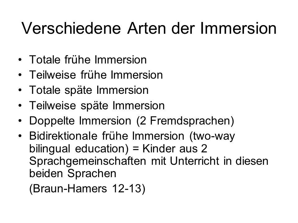 Verschiedene Arten der Immersion