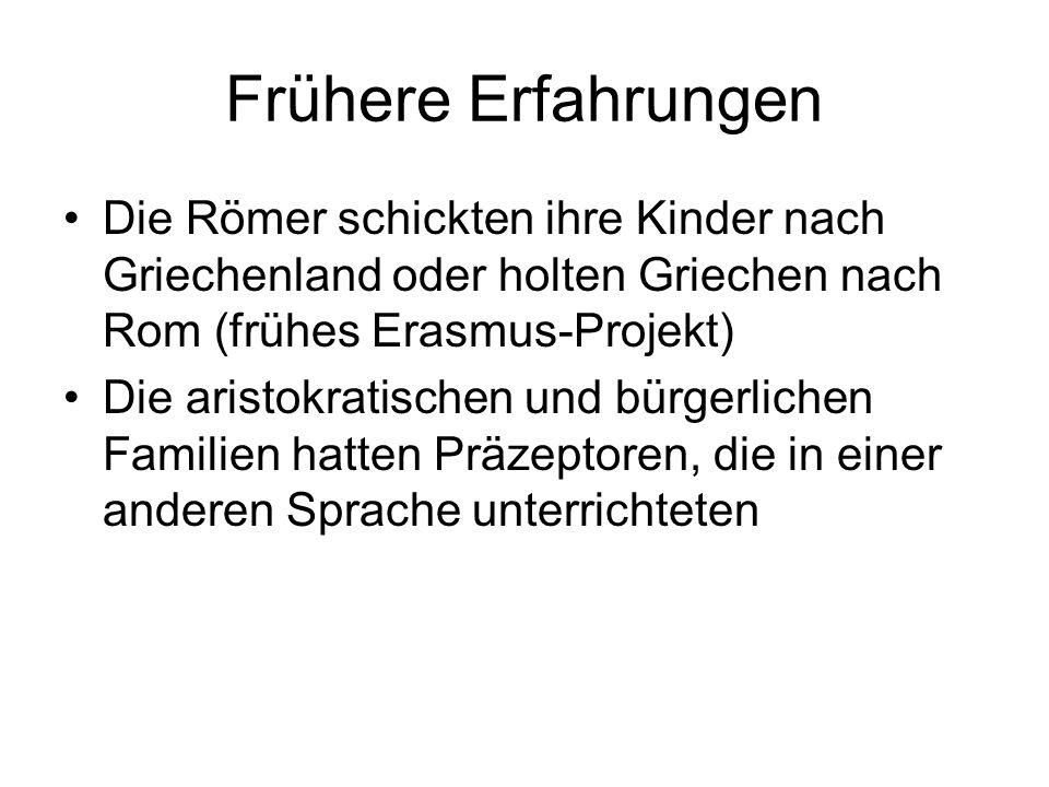 Frühere Erfahrungen Die Römer schickten ihre Kinder nach Griechenland oder holten Griechen nach Rom (frühes Erasmus-Projekt)