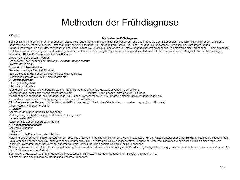 Methoden der Frühdiagnose