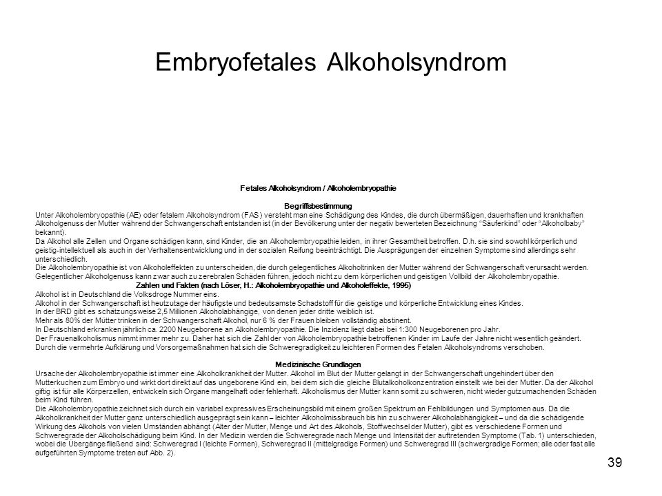 Embryofetales Alkoholsyndrom