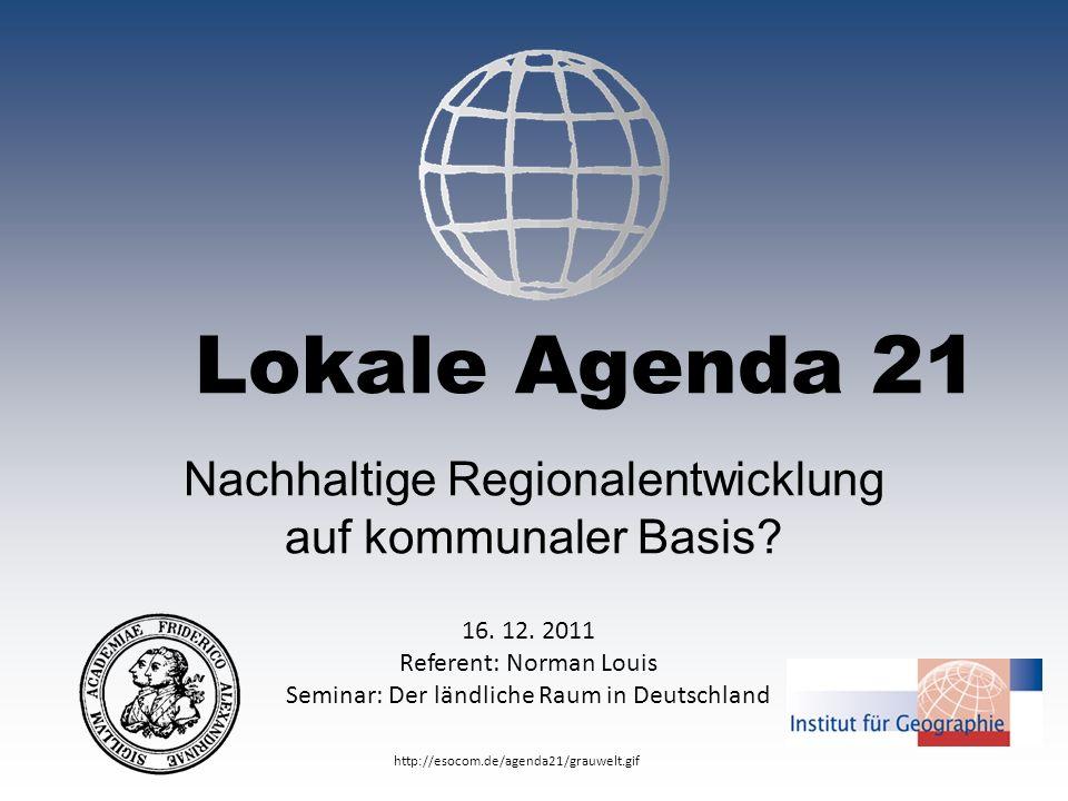 Nachhaltige Regionalentwicklung auf kommunaler Basis